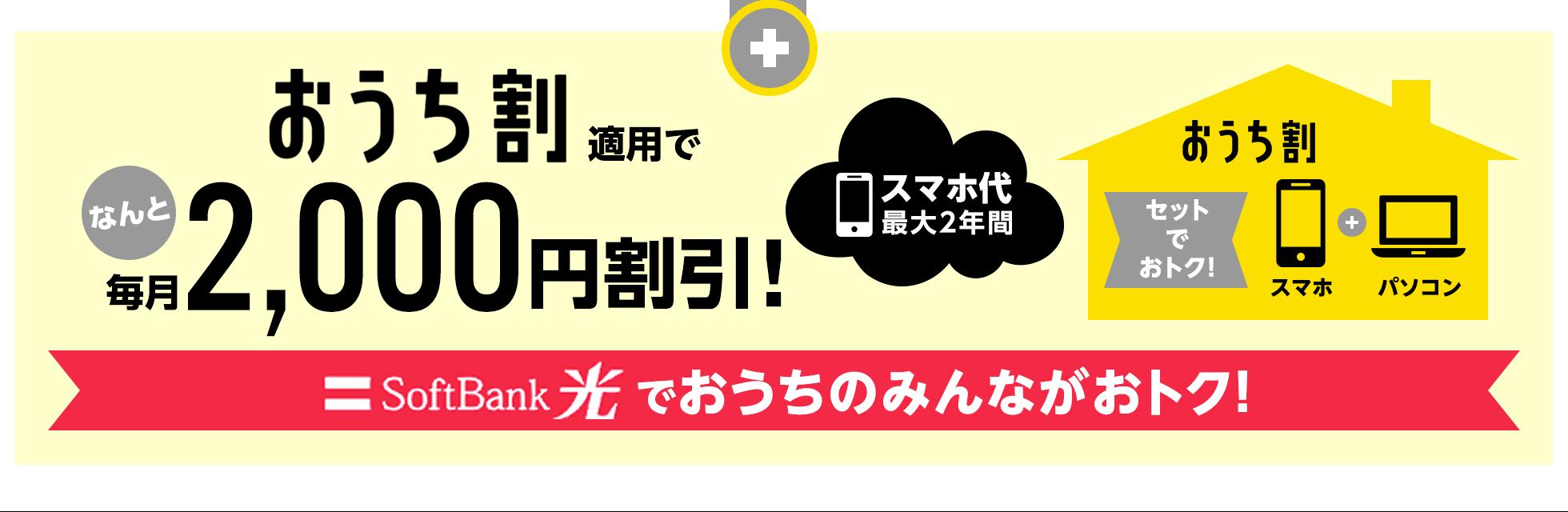 おうち割適用でなんと毎月2,000円割引!