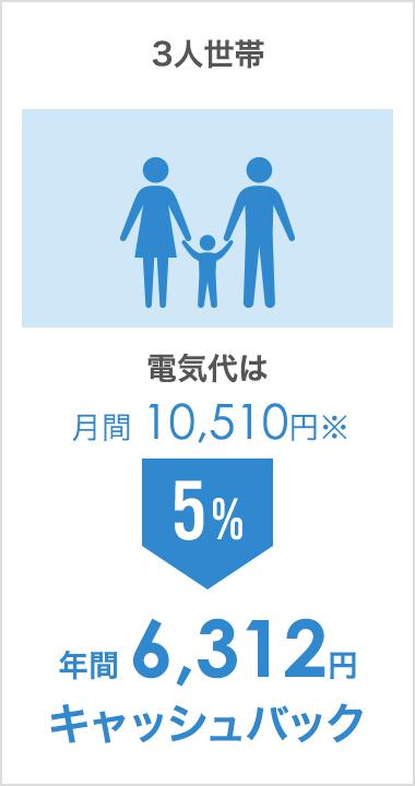 3人世帯(電気代は月間 10,510円):年間 6,312円キャッシュバック