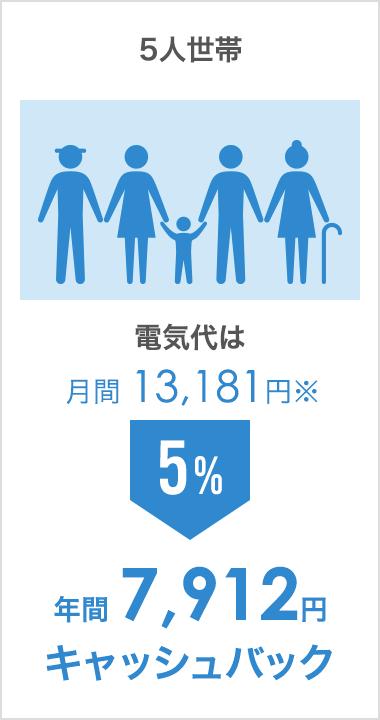 5人世帯(電気代は月間 13,181円):年間 7,912円キャッシュバック